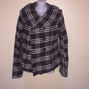 Plaid Style Patterned Coat
